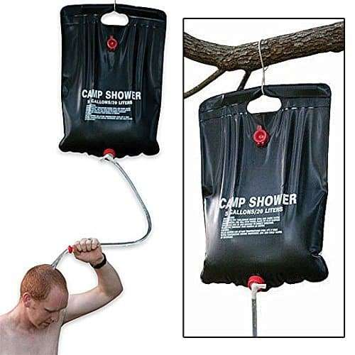Camping shower in use